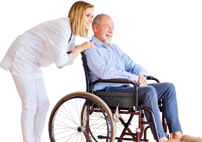a senior woman on wheelchair with her caregiver