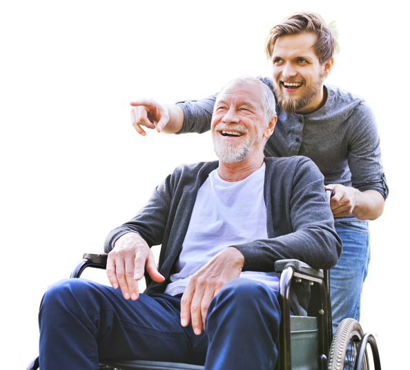 a photo of a senior man on a wheelchair with his caregiver