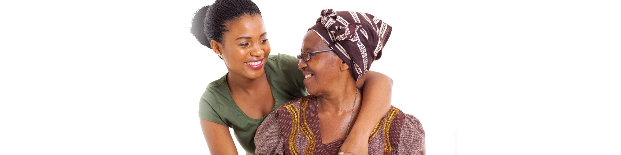 happy african senior mother and adult daughter closeup portrait on white